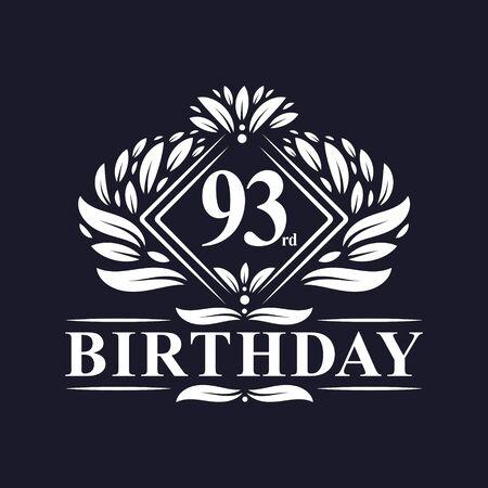 93 years Birthday Logo, Luxury 93rd Birthday Celebration. Çizim