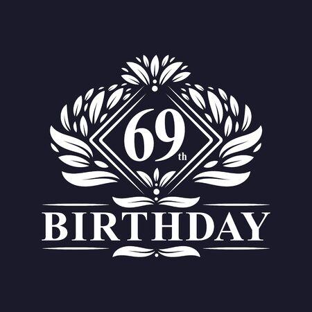 69 years Birthday Logo, Luxury 69th Birthday Celebration.