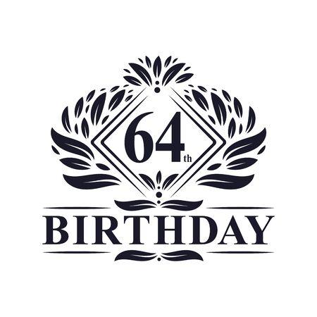 64 years Birthday Logo, Luxury 64th Birthday Celebration.
