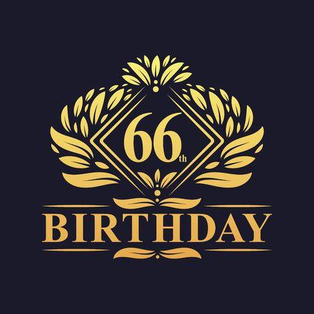 66 years Birthday Logo, Luxury Golden 66th Birthday Celebration.