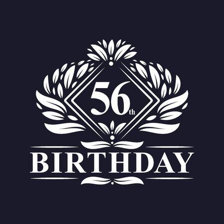 56 years Birthday Logo, Luxury 56th Birthday Celebration.