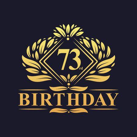 73 years Birthday Logo, Luxury Golden 73rd Birthday Celebration. Çizim