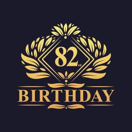 82 years Birthday Logo, Luxury Golden 82nd Birthday Celebration.