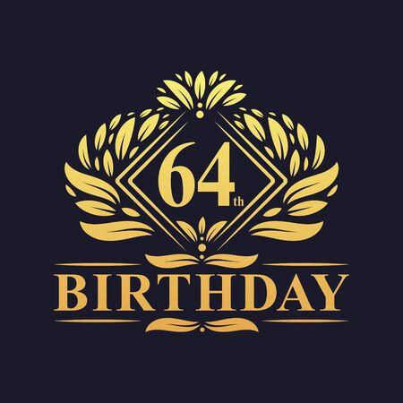 64 years Birthday Logo, Luxury Golden 64th Birthday Celebration.