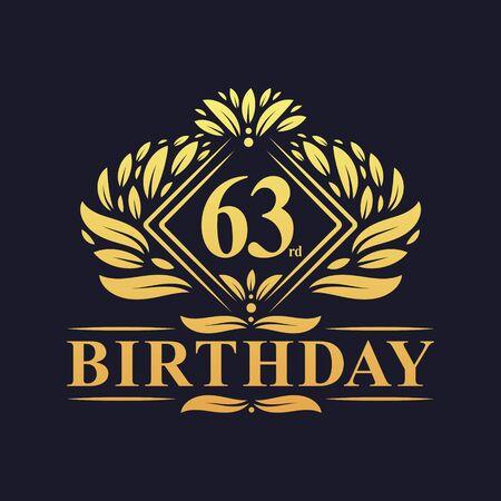 63 years Birthday Logo, Luxury Golden 63rd Birthday Celebration.