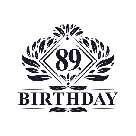 89 years Birthday Logo, Luxury 89th Birthday Celebration. Çizim