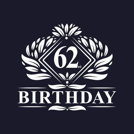 62 years Birthday Logo, Luxury 62nd Birthday Celebration.