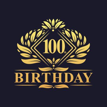 100 years Birthday Logo, Luxury Golden 100th Birthday Celebration.