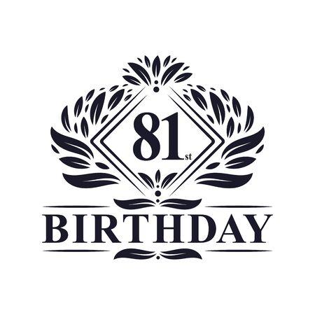 81 years Birthday Logo, Luxury 81st Birthday Celebration.