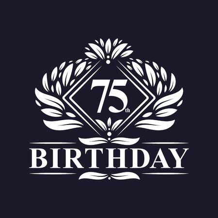 75 years Birthday Logo, Luxury 75th Birthday Celebration.