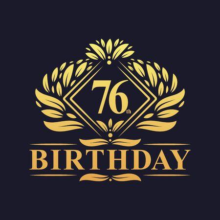 76 years Birthday Logo, Luxury Golden 76th Birthday Celebration.