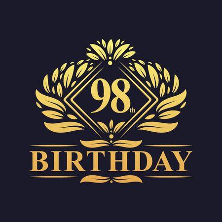 98 years Birthday Logo, Luxury Golden 98th Birthday Celebration.