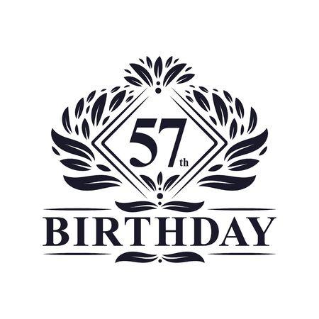 57 years Birthday Logo, Luxury 57th Birthday Celebration.