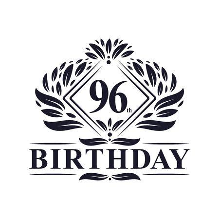 96 years Birthday Logo, Luxury 96th Birthday Celebration. Çizim