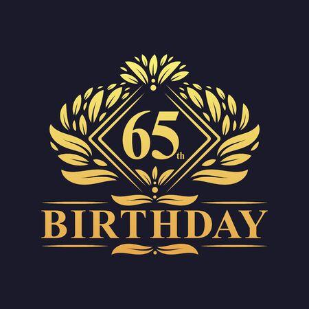 65 years Birthday Logo, Luxury Golden 65th Birthday Celebration. Çizim