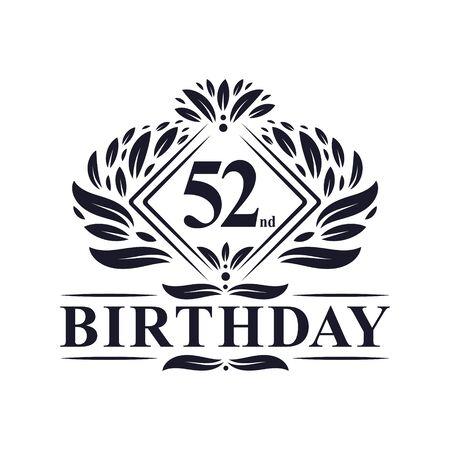 52 years Birthday Logo, Luxury 52nd Birthday Celebration.