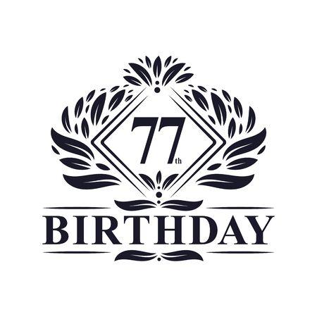 77 years Birthday Logo, Luxury 77th Birthday Celebration. Çizim