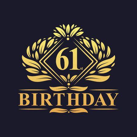 61 years Birthday Logo, Luxury Golden 61st Birthday Celebration.