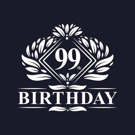 99 years Birthday Logo, Luxury 99th Birthday Celebration. Çizim