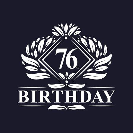76 years Birthday Logo, Luxury 76th Birthday Celebration.