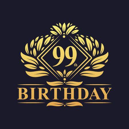 99 years Birthday Logo, Luxury Golden 99th Birthday Celebration. Çizim