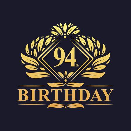 94 years Birthday Logo, Luxury Golden 94th Birthday Celebration.