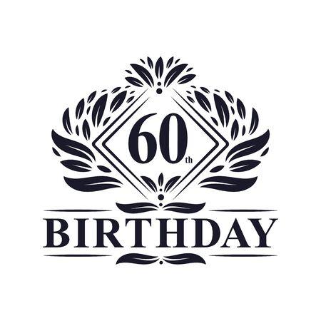 60 years Birthday Logo, Luxury 60th Birthday Celebration. Çizim
