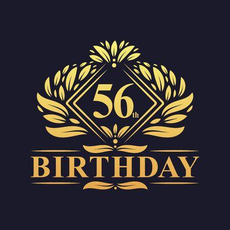 56 years Birthday Logo, Luxury Golden 56th Birthday Celebration.