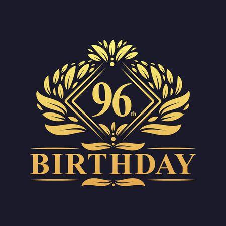 96 years Birthday Logo, Luxury Golden 96th Birthday Celebration.
