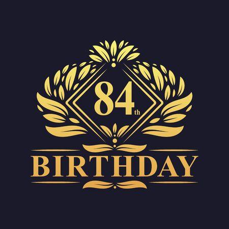 84 years Birthday Logo, Luxury Golden 84th Birthday Celebration. Çizim