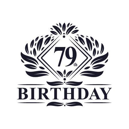 79 years Birthday Logo, Luxury 79th Birthday Celebration.