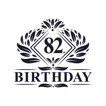82 years Birthday Logo, Luxury 82nd Birthday Celebration.