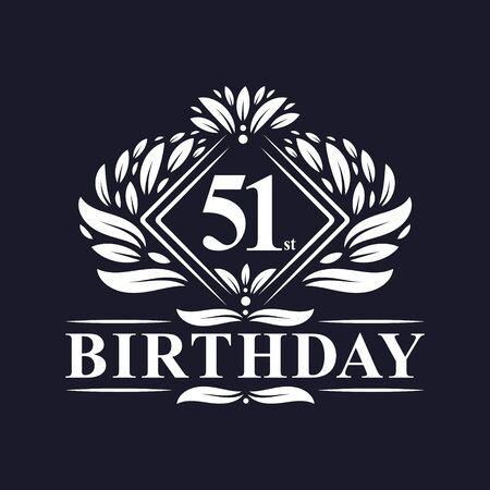 51 years Birthday Logo, Luxury 51st Birthday Celebration. Çizim