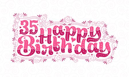 35th Happy Birthday lettering, 35 years Birthday beautiful typography design with pink dots, lines, and leaves.