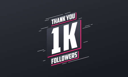 Thank you 1k followers, Greeting card template for social networks. Vector Illustration
