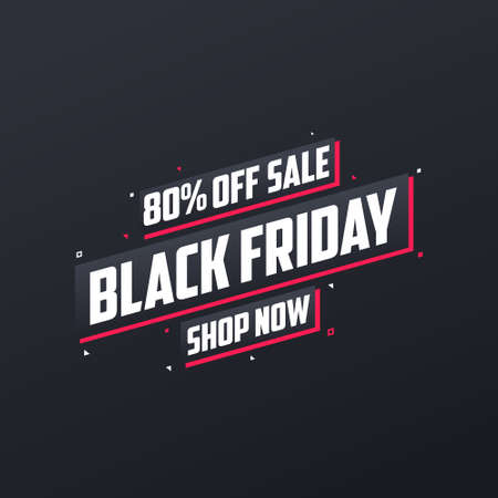 80% off Black Friday sale. Black Friday sale 80% discount offer, shop now. Promotional and marketing design for Black Friday.