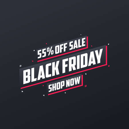 55% off Black Friday sale. Black Friday sale 55% discount offer, shop now. Promotional and marketing design for Black Friday.