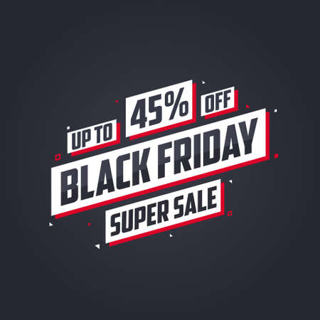 Black Friday sale banner or poster upto 45% off. Black Friday sale 45% discount offer vector illustration.