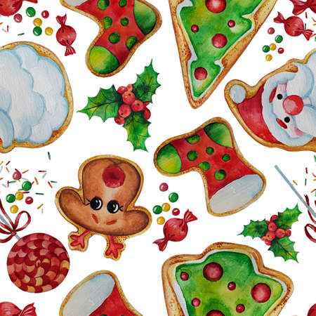 Christmas decoration cookies and candies 矢量图像