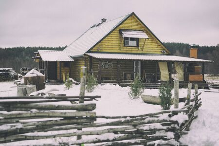 Suburban house in the snow