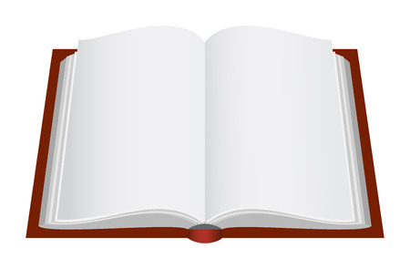 Opened book with brown cover. Vector illustration.