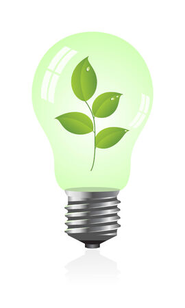 Light bulb with a plant. Vector illustration. Stock Vector - 5441131