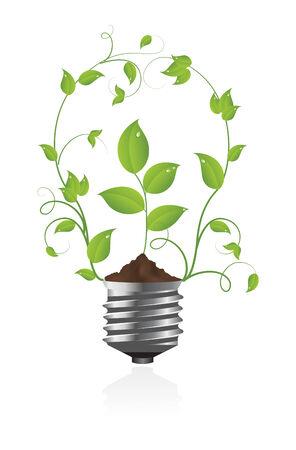 Green light bulb. Vector illustration. Stock Vector - 5441133