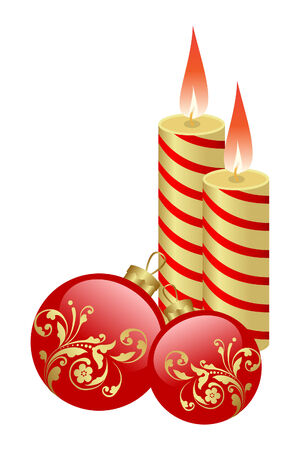 burning: The burning candles and balls it are Christmas Illustration