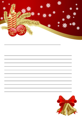 Empty paper for Christmas greeting. Vector illustration. Vector