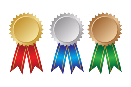 Three award ribbons. Gold, silver and bronze. Vector illustration Illustration