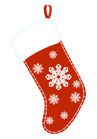 Christmas sock. Red and white gift sock. vector illustration. Vector