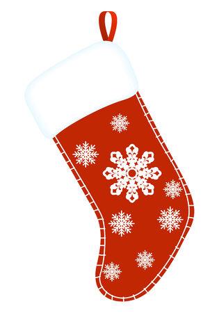 christmas sock: Natale calza. Calza regalo rosso e bianco. illustrazione vettoriale.