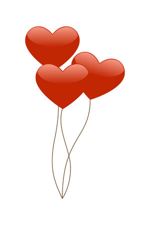 Red Heart Balloons isolated on a white background.
