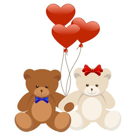 Cartoon illustration of sweet teddy bears in love.